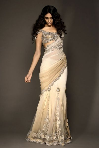Creme colored saree   silver blouse  Kisneel by Pam  #silver #saree #creme