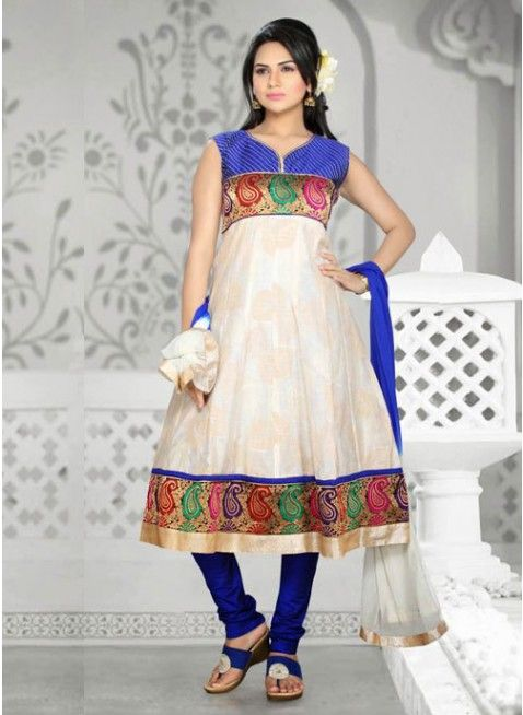 Chic Beige Chanderi Cotton Silk #Salwar_Kameez
