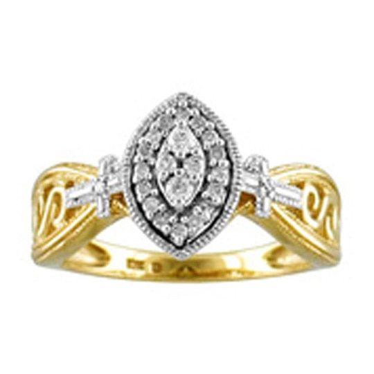 Cambridge 10k Gold 1/ 6ct TDW Diamond Marquise Halo Engagement Ring, Women's