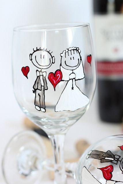 bride and groom wine glass by judipaintedit, via Flickr