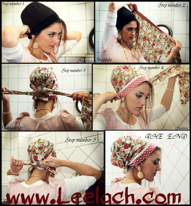 How to tie a sinar tichel: www.Leelach.com I wanna try this one day. I think it's really pretty.