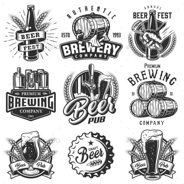 Set emblems with beer objects. Vintage monochrome style. Vector illustration.