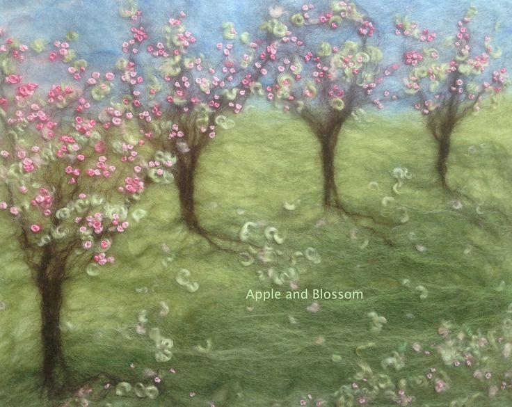 Orchard in blossom. Embroidered painting with wool created by Mary Spence at https://www.facebook.com/pages/Apple-and-Blossom/220736741410646?fref=photo