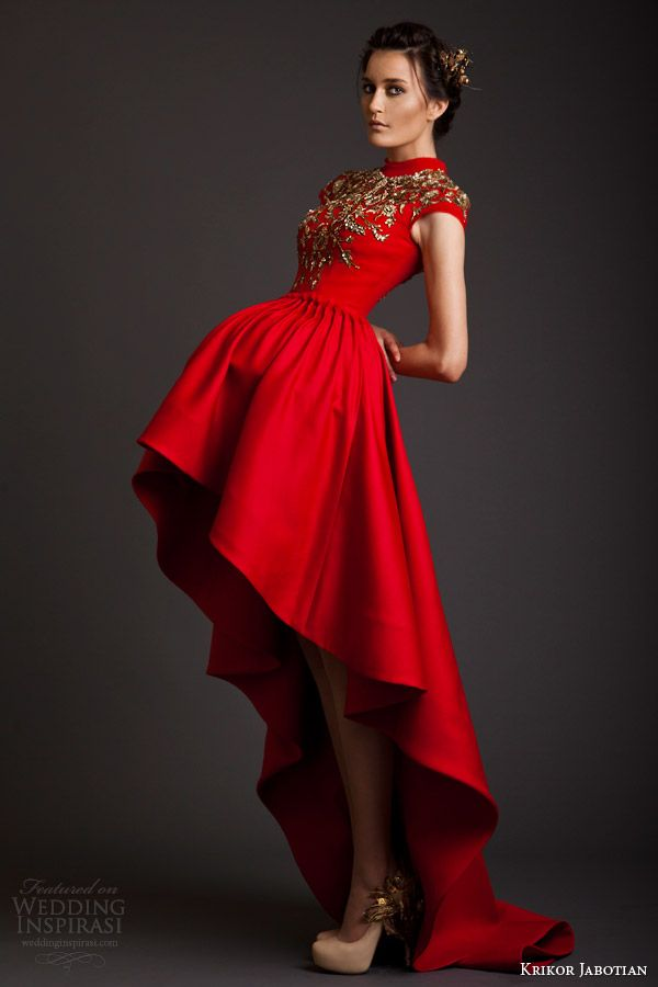 krikor jabotian couture spring 2014 akhtamar red mullet dress cap sleeves