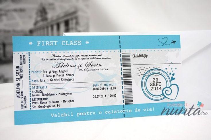 Invitatie de nunta bilet de avion Love Journey. Calatoria dragostei incepe cu un bilet!