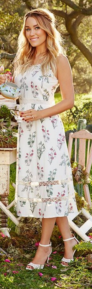 Who made Lauren Conrad's white cut out sandals and floral dress?