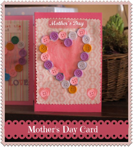 Mother's day card - a pretty button craft to make with young children.  #tombow 's MONO Aqua Liquid Glue would work great on the buttons!  https://tombowusa.com/craft/detail/52180
