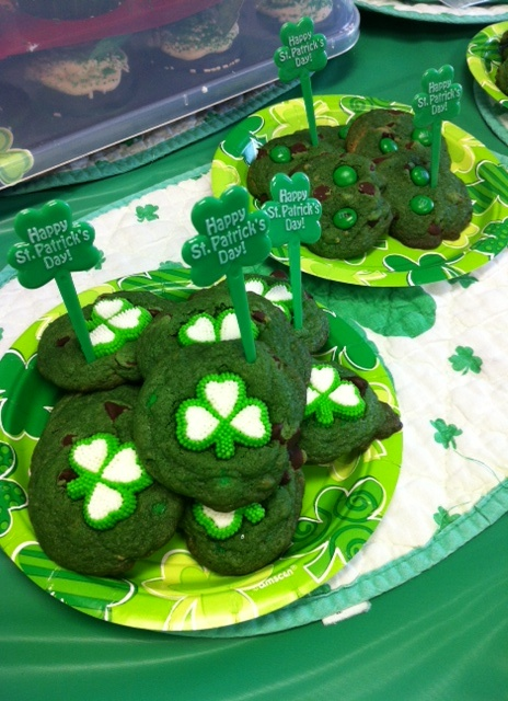 Mint Chocolate Chip Cookies with green M and green food coloring.