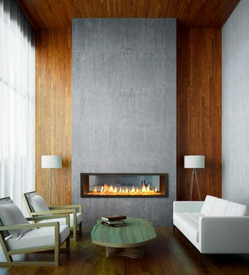 ethanol-kamin heller Holzboden und Hoz-Wandverkleidung