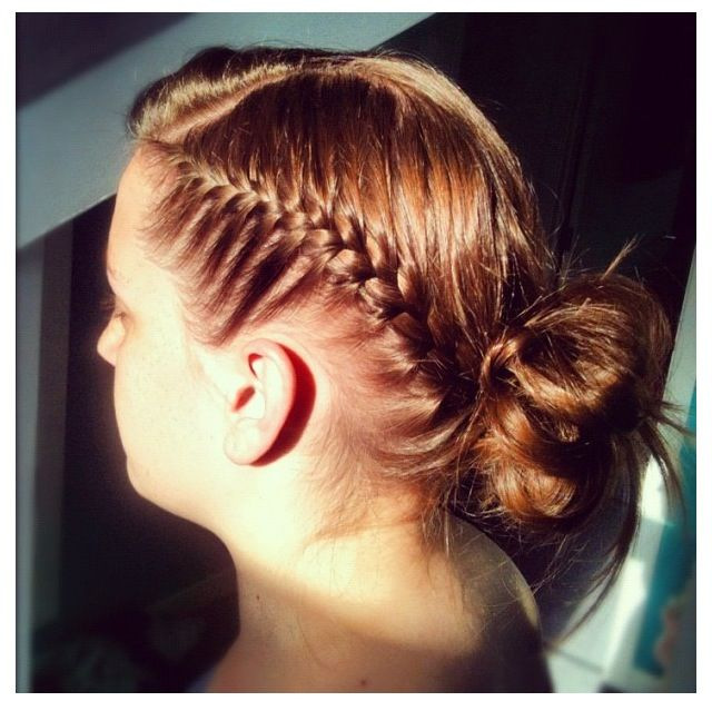 Side French plait and messy bun