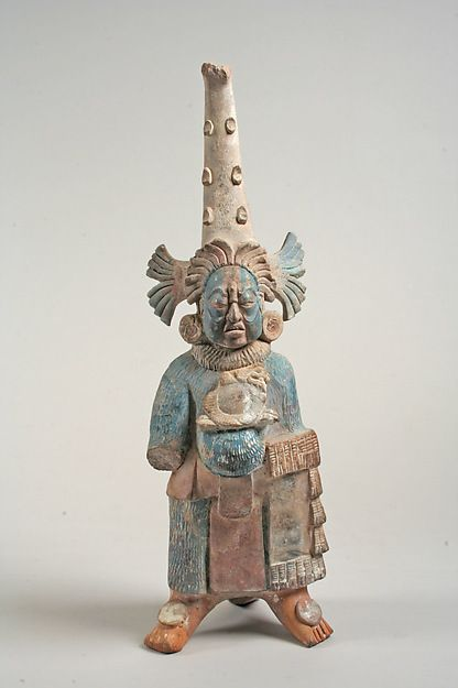 This Mayan costumed figure from the 7th–8th century was included in burial rituals of early Mesoamerica. (via the Metropolitan Museum of Art)