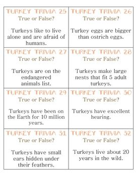 True false turkey trivia :) fun activity for the week of Thanksgiving.