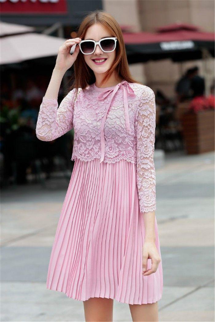 Tienda de ropa en línea vestidos de mujer precios en euros mujeres lindo color rosa pura vestidos de encaje kawaii nudo plisado vestido encantador 2015 en Vestidos de Moda y Complementos Mujer en AliExpress.com | Alibaba Group