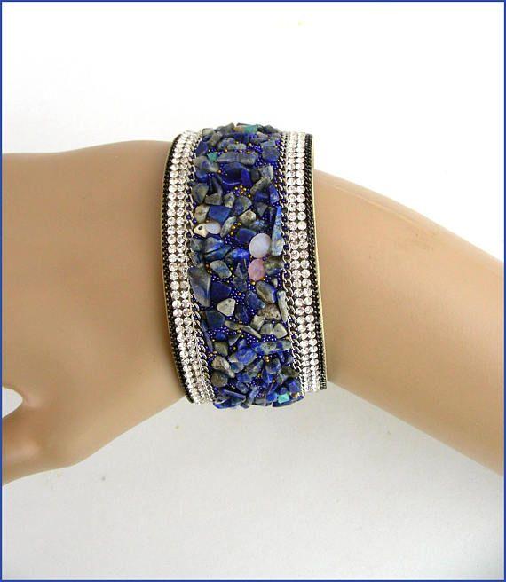 Lapis-Lazuli stone bracelet cuff bracelet manchette
