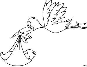 Das Baby mit Storch Ausmalbild aus der Kategorie Frühling
