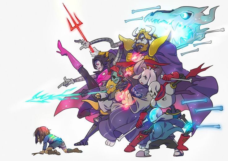 Attacks by Asgore, Toriel, Mettaton, Alphys, Undyne, Papyrus and Sans to protect Frisk