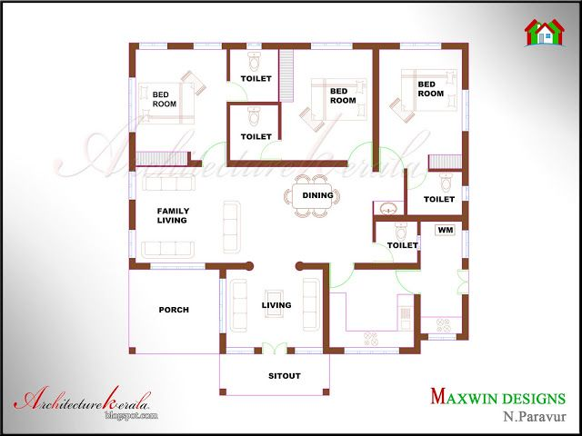 Architecture kerala 3 bhk single floor kerala house plan for Four bhk bungalow plan