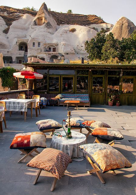 """Goreme - a town located among the """"fairy chimney"""" rock formations in Cappadocia, Turkey"""