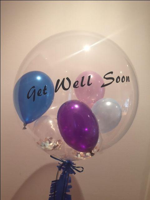 custom text on gem confetti balloon