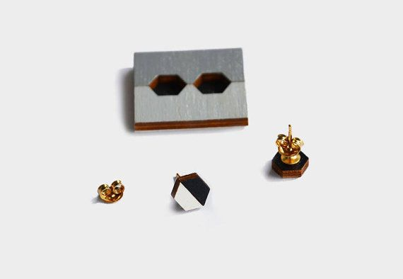 Hexagon Studs / Hand-painted Wooden Stud Earrings / Black and White / Minimal