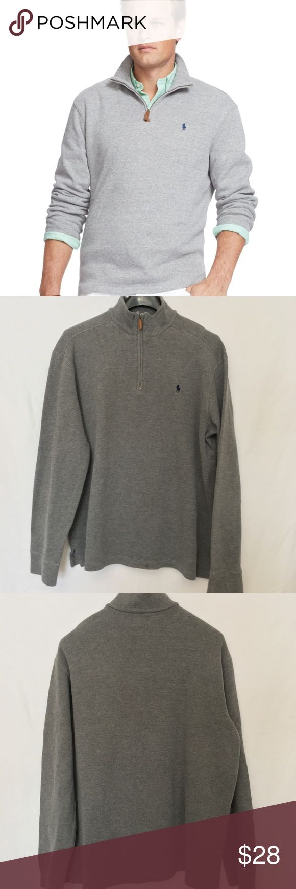 "Polo Ralph Lauren Half Zip French Rib Shirt XL Polo Ralph Lauren Mens Gray Half Zip Long Sleeve French Rib Shirt Sweatshirt XL 100% Cotton  Size XL MEASUREMENTS  LENGTH 28"" SLEEVES 27"" UNDERARM TO UNDERARM 24.5"" Excellent, nearly new condition with no stains or holes. Polo by Ralph Lauren Shirts Sweatshirts & Hoodies"