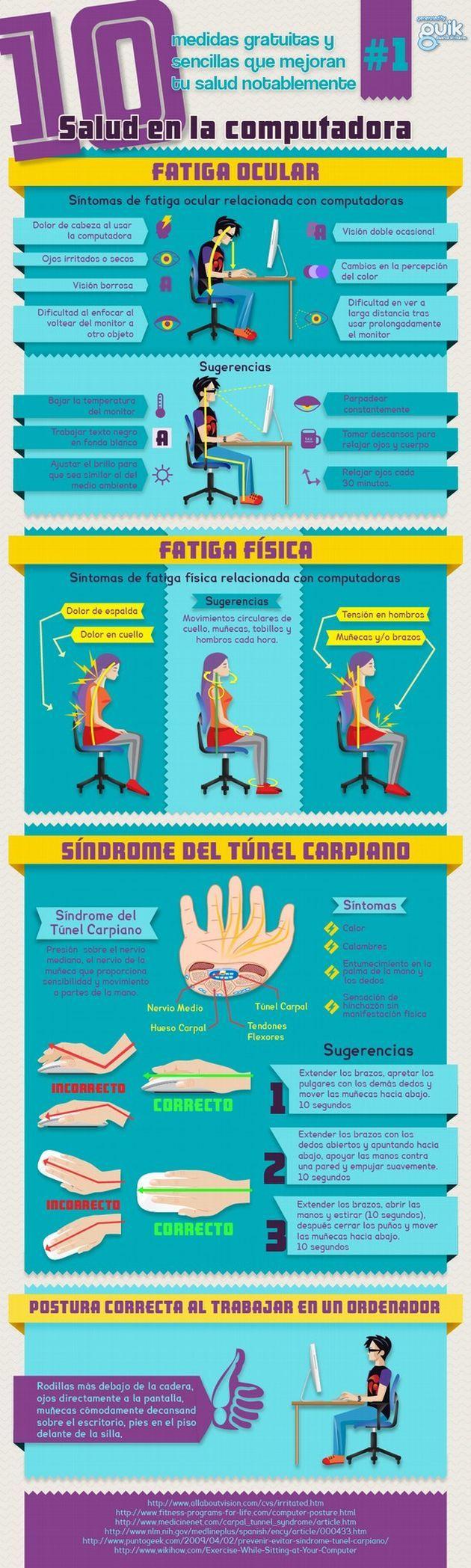 Una infografía que nos enseña a cuidar nuestra salud frente al uso continuo del ordenador. Infografía en español