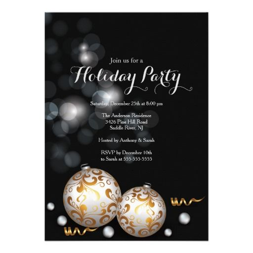156 best holiday party images on pinterest christmas parties fancy black bokeh lights holiday invitation stopboris Image collections