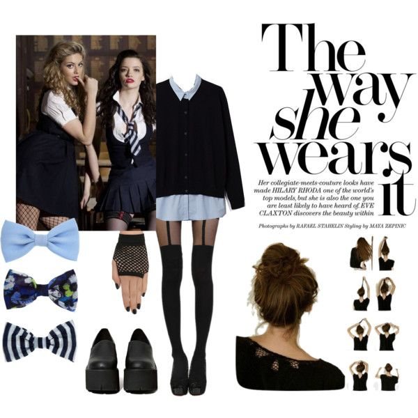 St Trinians inspired styling by eltina-giannopoulou on Polyvore featuring Jeffrey Campbell