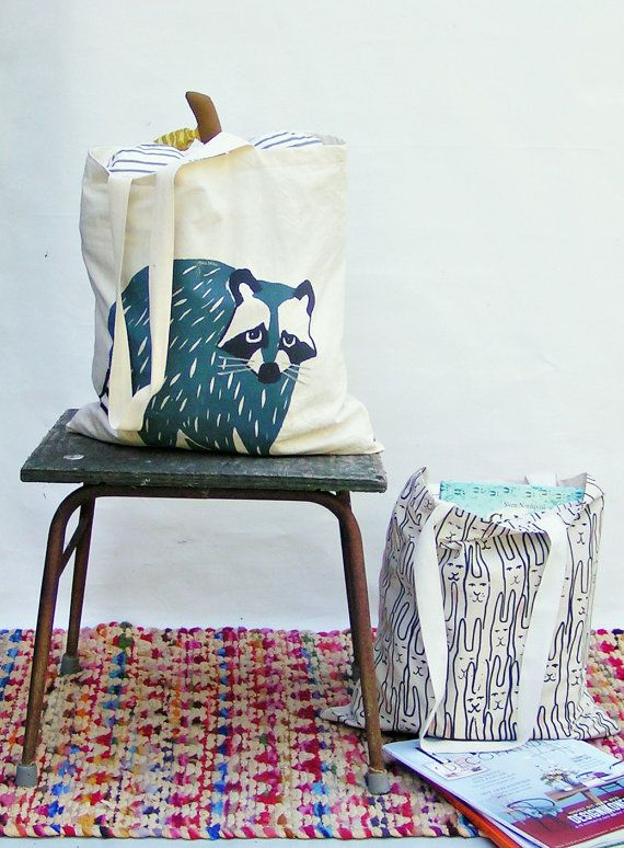 Totebag raccoon by normadot on Etsy