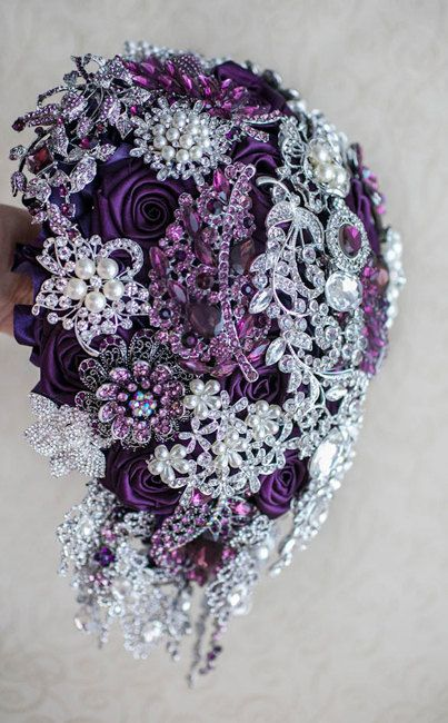 Cascading Brooch bouquet. Purple and Silver by MagnoliaHandmade