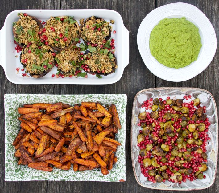 A Christmas Feast: mix of cinnamon, paprika and rosemary infused sweet potato wedges and carrots; crispy brussel sprouts with sweet juicy pomegranates and a little lemon; baked portobello mushrooms stuffed with coriander, basil, pine nuts, tahini and quinoa; and a deliciously sweet, creamy pea puree