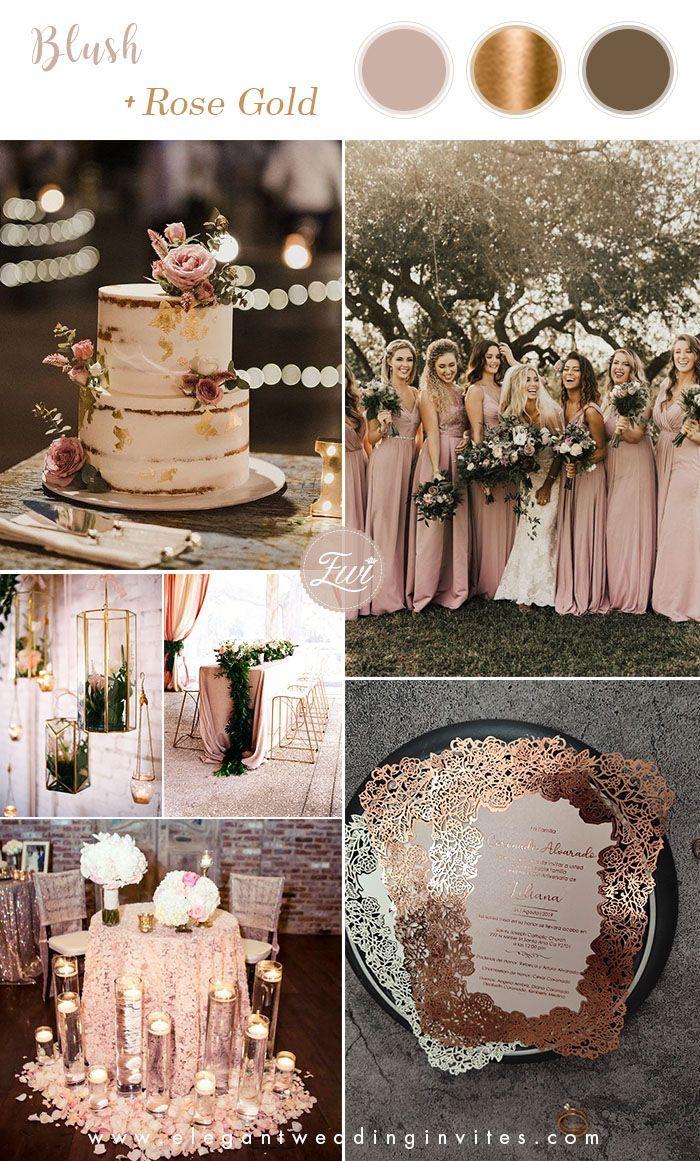 6 Stunning Metallic Wedding Color Palettes With Matching Invitations Elegantweddinginvites Com Blog In 2020 Wedding Rose Gold Theme Metallic Wedding Colors Gold Wedding Theme