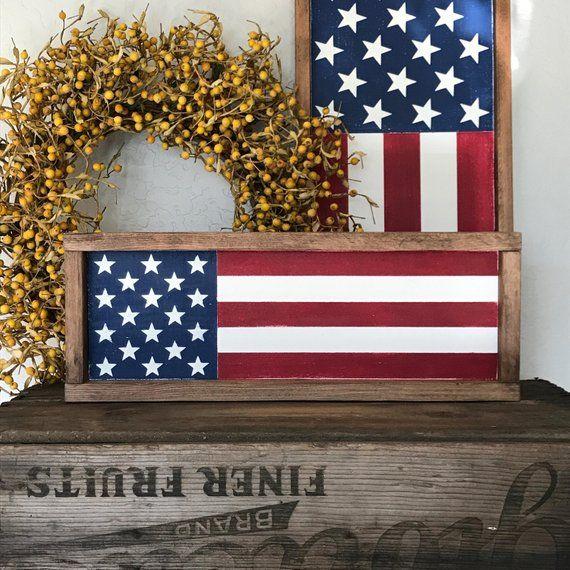 American Flag | Wood Sign | Farmhouse Decor | Farmhouse Style | 4th of July Sign | Framed Sign | 7″