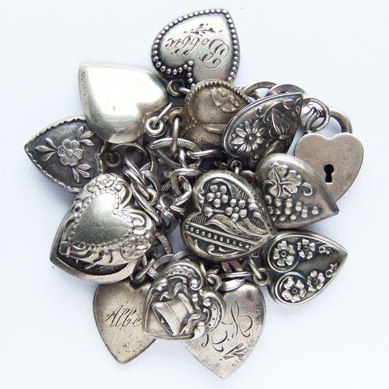 Vintage Silver Puffy Heart Charm Bracelet