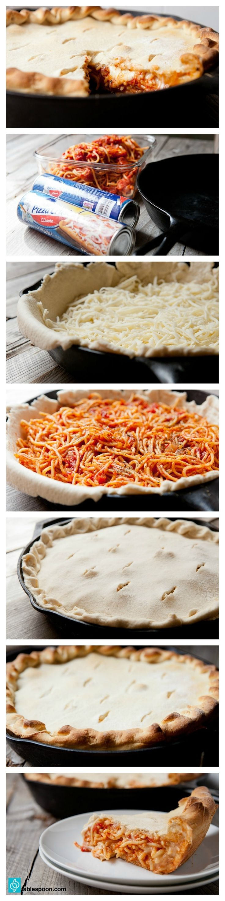 If you've ever been stuck with a lot of leftover pasta, this is the perfect use! Bake it up deep-dish pizza style, with lots of cheese.