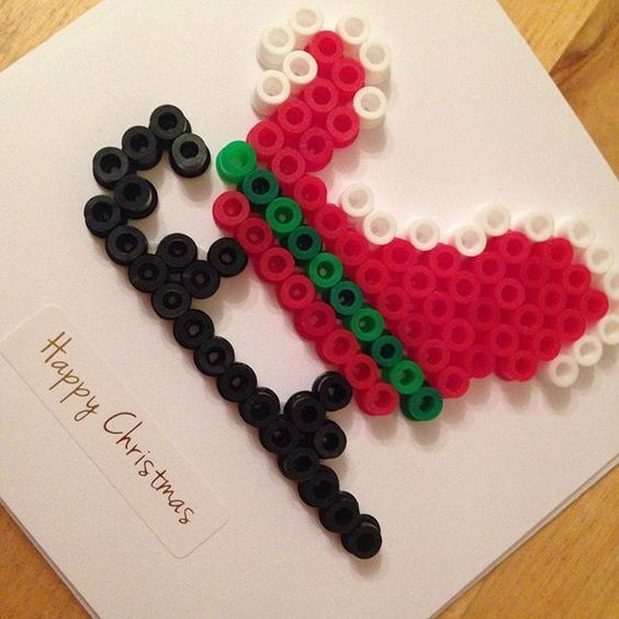 Christmas card hama beads by redcherryrock: