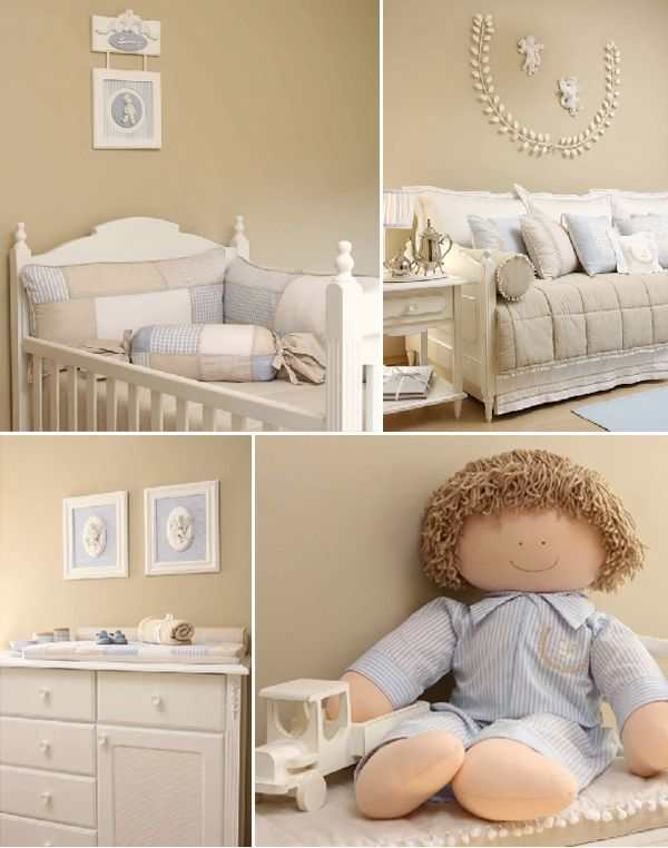beige and blue nursery