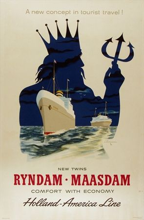 Vintage Holland America Line Cruise Travel Poster: Announcing New Twin Ships...The Ryndam & The Maasdam