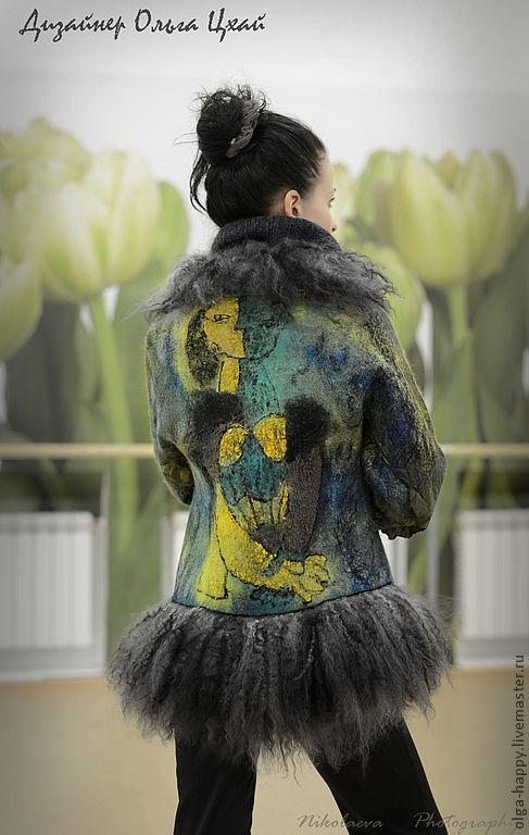 Купить Валяный жакет Пикассо - рисунок, валяная куртка, валяный жакет, пикассо