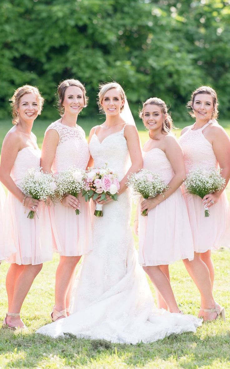 Rustic Romantic Outdoor Wedding - Pink Bridesmaids