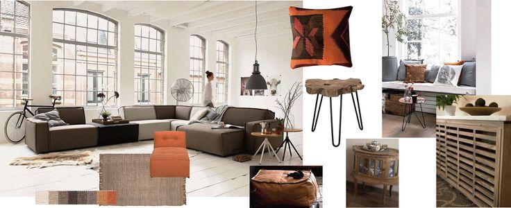 Moodboard robuust!  Inspiratie die ik heb verzameld voor ons nieuwe interieur. Teak houten meubelen gecombineerd met de UMIX bank combinatie van Leen Bakker. We willen graag een mooie houten radiator ombouw, met brede vensterbank voor gezellige kussens. De basis kleuren zijn bruin en oranje met frisse crème / zand kleuren.
