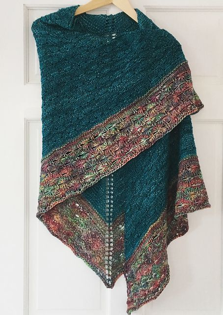 Amberle by Shannon Cook, knitted by michelethemaker | malabrigo Rios in Teal Feather and Arco Iris
