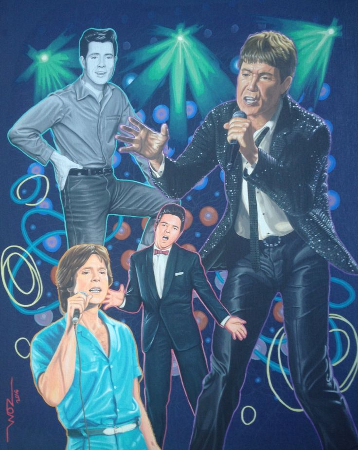 Artist WOZ fine art painting 'Cliff Richard' acrylics on canvas 16x20inch. Limited prints available on request.