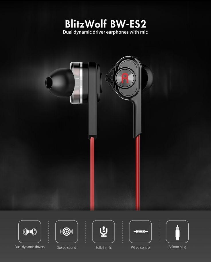 BlitzWolf® BW-ES2 3.5mm Dual Dynamic Driver Earphone Headphone With Mic
