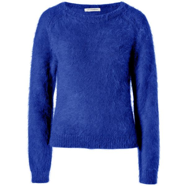 J.W. Anderson - Angora Blend Raglan Sleeve Pullover in Navy ...