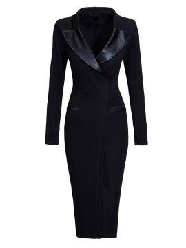 Plain Black V-Neck Long Sleeve Women's Sheath Dress