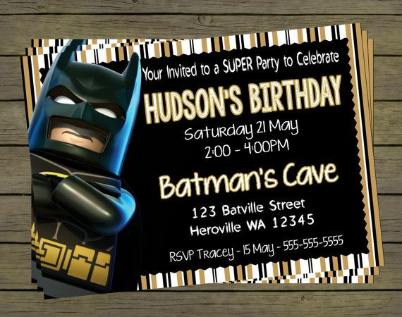 Lego Batman Digital Birthday Invitation - Hero Superhero Party Digital File; You Print - printable - PYO on Etsy, $9.99