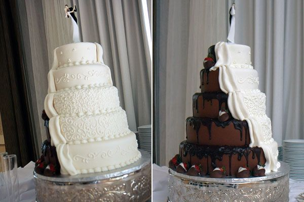 The perfect compromise!  Half traditional for the bride and half modern for the groom.