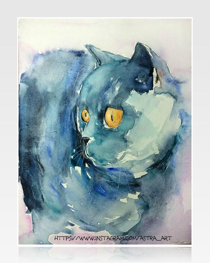 cats, watercolor, кошки, акварель