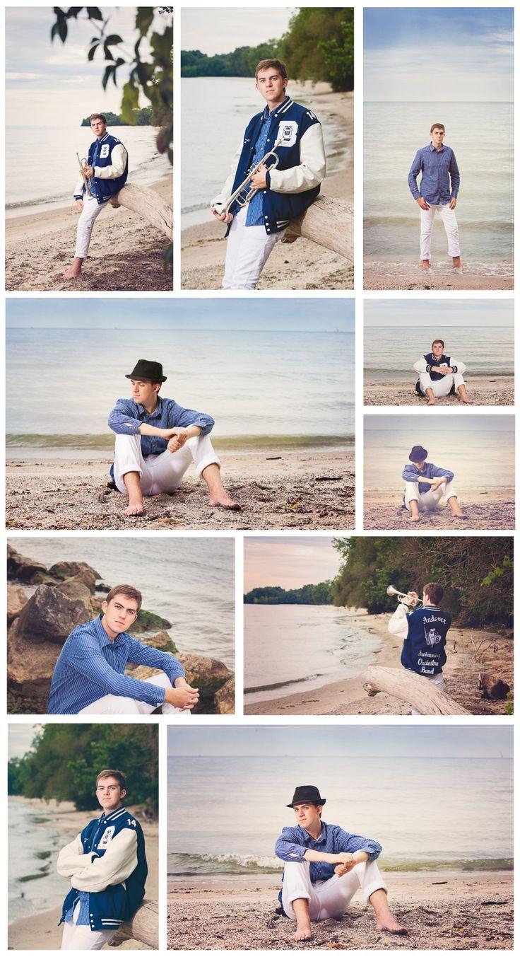 Beach senior boy photos, trumpet, senior band - Memories Captured by Brenda